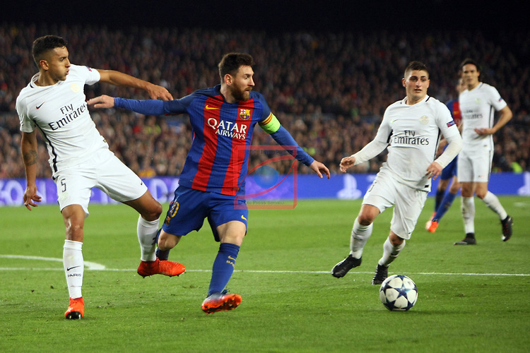 UEFA Champions League 2016/2017.<br /> Round of 16 2nd leg<br /> FC Barcelona vs Paris Saint-Germain: 6-1.<br /> Marquinhos vs Lionel Messi.