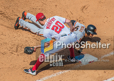 7 August 2016: San Francisco Giants left fielder Angel Pagan dives safely back to first as Washington Nationals first baseman Daniel Murphy receives a pick-off attempt during a game at Nationals Park in Washington, DC. The Nationals shut out the Giants 1-0 to take the rubber match of their 3-game series. Mandatory Credit: Ed Wolfstein Photo *** RAW (NEF) Image File Available ***