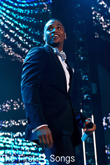 Trey Songz (born Tremaine Neverson) performs at the 2013 Essence Festival at the Mercedes-Benz Superdome in New Orleans, Louisiana.