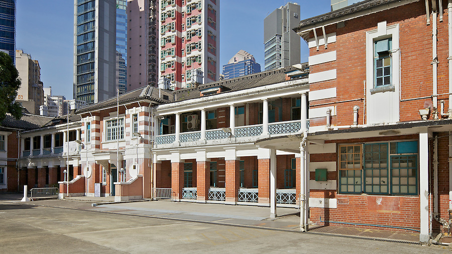 Central courtyard and parade ground, former Police Station, Central.  (This was prior to the HKJC's massive restoration project completed in May 2018.)