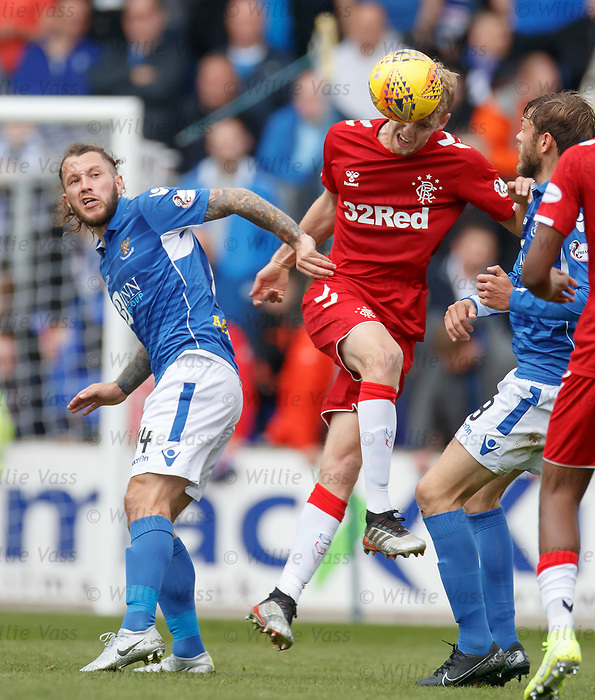 22.09.2019 St Johnstone v Rangers: Stevie May and Filip Helander