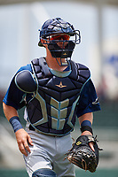 GCL Rays catcher Nate Soria (50) jogs back to the dugout during a game against the GCL Red Sox on August 1, 2018 at JetBlue Park in Fort Myers, Florida.  GCL Red Sox defeated GCL Rays 5-1 in a rain shortened game.  (Mike Janes/Four Seam Images)