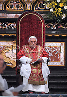 Pope Benedict XVI  near Aosta,cattedral northern Italy, Monday, July 24, 2009.
