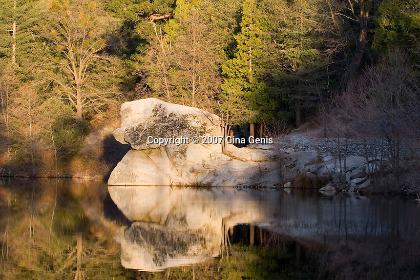 Horsehead rock in the golden glow of sunset at Lake Fulmor