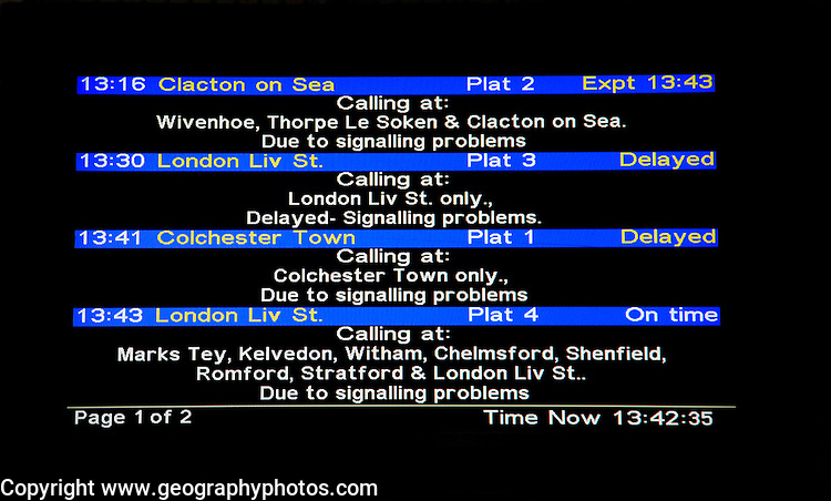Delayed train journeys electronic information notice, Colchester, Essex, England, UK