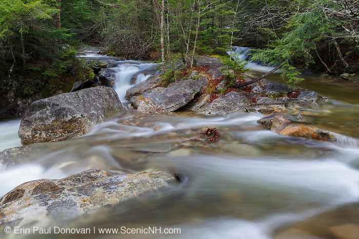 "Just above the ""The Basin"" viewing area along the Pemigewasset River in Franconia Notch State Park of Lincoln, New Hampshire USA during the autumn months."