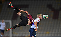 Preston North End's Jayden Stockley is tackled by Bradford City's Anthony O'Connor<br /> <br /> Photographer Dave Howarth/CameraSport<br /> <br /> The Carabao Cup First Round - Bradford City v Preston North End - Tuesday 13th August 2019 - Valley Parade - Bradford<br />  <br /> World Copyright © 2019 CameraSport. All rights reserved. 43 Linden Ave. Countesthorpe. Leicester. England. LE8 5PG - Tel: +44 (0) 116 277 4147 - admin@camerasport.com - www.camerasport.com