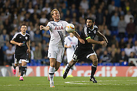 Harry Kane of Tottenham Hotspur & Rashad Sadygov of Qarabag FK battle for the ball during the UEFA Europa League match between Tottenham Hotspur and Qarabag FK at White Hart Lane, London, England on 17 September 2015. Photo by Andy Rowland.