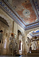 palace of Fort Mehrangarh,  Jodhpur, Rajastan, India - man with orange turban, ceiling with elaborate mosaic