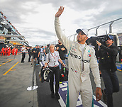 24th March 2018, Melbourne Grand Prix Circuit, Melbourne, Australia; Melbourne Formula One Grand Prix, qualifying; Lewis Hamilton (Great Britain) of Mercedes AMG Petronas F1 Team Mercedes smiles after claiming pole position