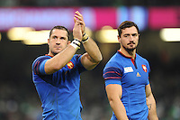 Scott Spedding and Alexandre Dumoulin of France thanks the fans for their support after Match 39 of the Rugby World Cup 2015 between France and Ireland - 11/10/2015 - Millennium Stadium, Cardiff<br /> Mandatory Credit: Rob Munro/Stewart Communications