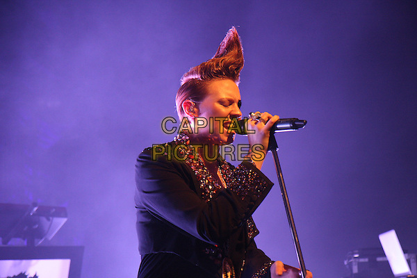 LA ROUX (Eleanor Jackson).Performing live at Shepherd's Bush Empire, London, England..November 26th, 2009.stage concert gig performance music half length black jacket embellished jewel encrusted collar hair mohawk profile singing.CAP/MAR.© Martin Harris/Capital Pictures.