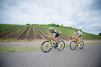 Dube Quintero (COL) &amp; Jay Thomson (RSA) leading the stage for most of the day through the Luxemburg vineyards<br /> <br /> 2013 Skoda Tour de Luxembourg<br /> stage 1: Luxembourg - Hautcharage (184km)