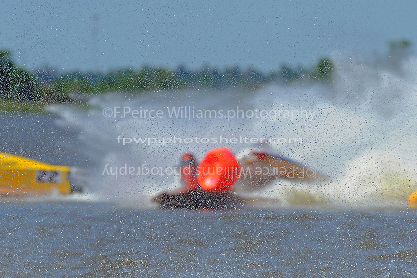 Frame 4: Leader Butch Ott, (#78) is tagged by Travis Thompson, (#2) and spins into the bouy.  (SST-45 class)..NOTE: Subject is out of focus due spray on front straight between camera and subjects. No one is to publish this image. Only shown for informational purposes.