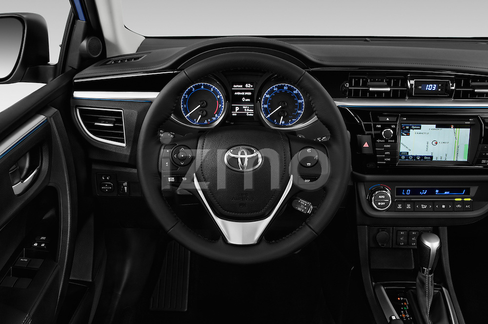 Car pictures of steering wheel view of a 2016 Toyota Corolla S Premium 4 Door Sedan Steering Wheel