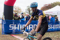NWA Democrat-Gazette/CHARLIE KAIJO Bryan Pendergraft of Conway crosses the finish line during a bike race, Sunday, November 4, 2018 at Lake Leatherwood MTB Park in Eureka Springs.<br />