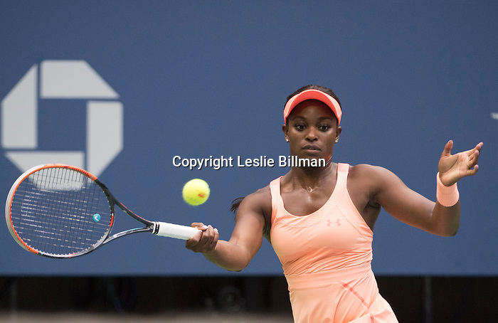 September 9,2017:  Sloane Stephens (USA) defeated Madison Keys (USA) 6-3, 6-0, at the US Open being played at Billy Jean King National Tennis Center in Flushing, Queens, New York.  ©Leslie Billman