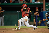 Batavia Muckdogs third baseman Denis Karas (9) hits a single during a game against the West Virginia Black Bears on June 19, 2018 at Dwyer Stadium in Batavia, New York.  West Virginia defeated Batavia 7-6.  (Mike Janes/Four Seam Images)