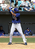 April 1, 2004:  Jolbert Cabrera of the Los Angeles Dodgers organization during Spring Training at Space Coast Stadium in Melbourne, FL.  Photo copyright Mike Janes/Four Seam Images