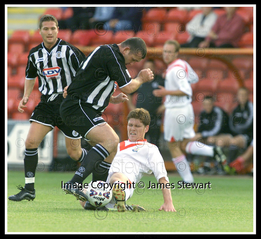 08/09/2001                Copyright Pic : James Stewart .Ref : 673N9658                          .File Name : stewart02-airdrie v st mirren.ST MIRREN'S MARK YARDLEY AND AIRDRIE'S DARREN BEASLEY CHALLENGE FOR THE BALL......James Stewart Photo Agency, Stewart House, Stewart Road, Falkirk. FK2 7AS      Vat Reg No. 607 6932 25.Office : +44 (0)1324 630007     Mobile : + 44 (0)7721 416997.Fax     :  +44 (0)1324 630007.E-mail : jim@jspa.co.uk.If you require further information then contact Jim Stewart on any of the numbers above.........