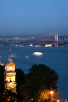 Istanbul: the Bosphorus Bridge and the clock tower of the Dolmabahce Palace