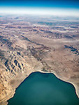 The Walker River flows into the north side, top, of Walker Lake, Nevada. Wassuk Range on the left.<br /> <br /> Walker Lake is a desert lake that is a remnant of prehistoric Lake Lahontan that covered much of western Nevada during the last ice age.<br /> <br /> USA Fly-over County-from the window seat of Southwest #1882 from SMF to DAL, September 2016