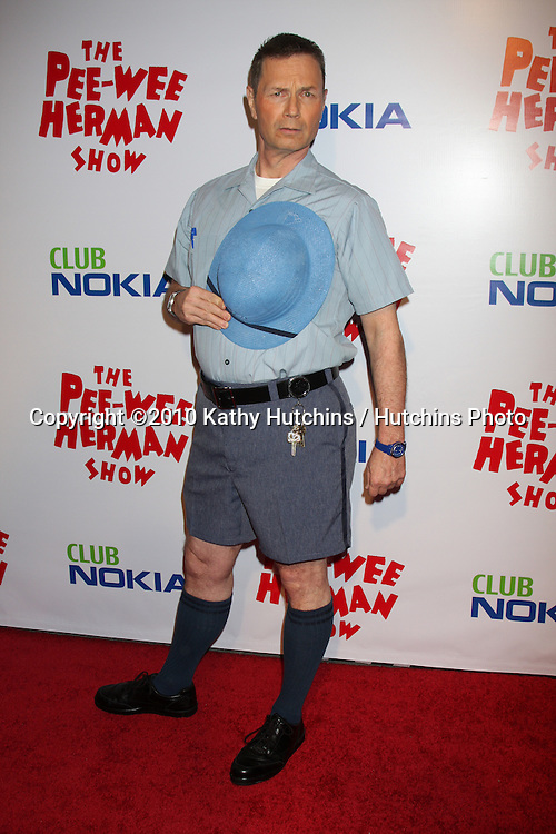 "John Moody as Mailman Mike.arriving at the ""The Pee Wee Herman Show"" Opening Night..Club Nokia.Los Angeles, CA.January 20, 2010.©2010 Kathy Hutchins / Hutchins Photo...."