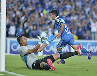 BOGOTÁ -COLOMBIA, 09-02-2014. Omar Vasquez de Millonarios anota un gol en contra del Atlético Nacional durante partido por la fecha 4 de la Liga Postobón  I 2014 jugado en el estadio Nemesio Camacho el Campín de la ciudad de Bogotá./ Omar Vasquez of Millonarios scores a goal  against Atletico Nacional during for the 4th date of the Postobon  League I 2014 played at Nemesio Camacho El Campin stadium in Bogotá city. Photo: VizzorImage/ Gabriel Aponte / Staff