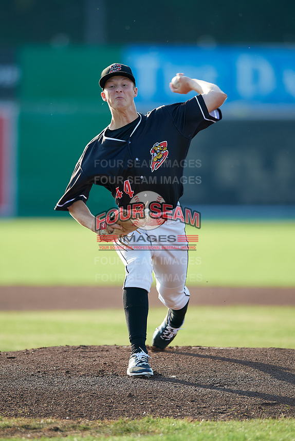 Batavia Muckdogs starting pitcher Dakota Bennett (44) delivers a pitch during a game against the Auburn Doubledays on June 28, 2018 at Dwyer Stadium in Batavia, New York.  Auburn defeated Batavia 14-9.  (Mike Janes/Four Seam Images)