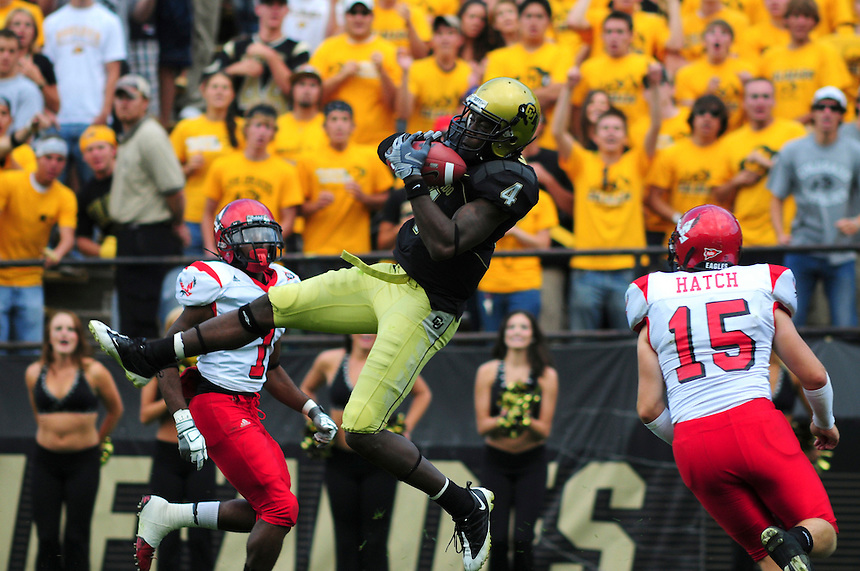 06 September 08: Colorado Receiver Patrick Williams (4) makes a reception against Eastern Washington. The Colorado Buffaloes defeated the Eastern Washington Eagles 31-24 at Folsom Field in Boulder, Colorado. FOR EDITORIAL USE ONLY
