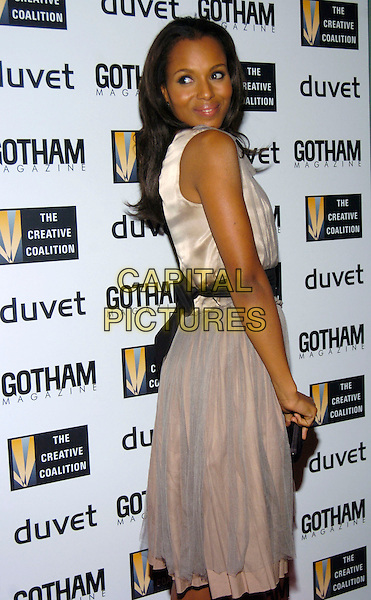 KERRY WASHINGTON.Creative Coalition Gala, Spotlight Awards and Christopher Reeve First Amendment Award at Duvet, New York, NY, USA,18 December 2006..half length grey dress black sash looking back over shoulder.CAP/ADM.©Bill Lyons/Admedia/Capital Pictures *** Local Caption ***