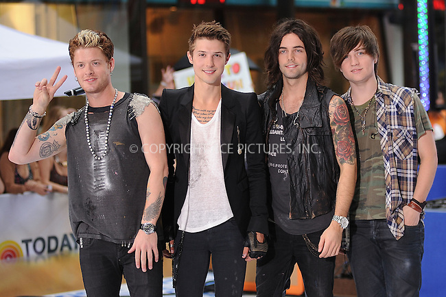 WWW.ACEPIXS.COM . . . . . .July 20, 2012...New York City....Nash Overstreet, Ryan Follese, Ian Keaggy and Jamie Follese of Hot Chelle Rae perform on NBC's 'Today' at Rockefeller Plaza on July 20, 2012 in New York City ....Please byline: KRISTIN CALLAHAN - ACEPIXS.COM.. . . . . . ..Ace Pictures, Inc: ..tel: (212) 243 8787 or (646) 769 0430..e-mail: info@acepixs.com..web: http://www.acepixs.com .