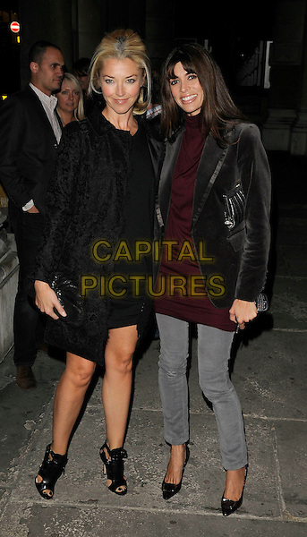 TAMARA BECKWITH & LISA BILTON.The House of Cards private view, Haunch of venison Gallery, Burlington Gardens, London, England..September 24th, 2009.full length B Babuscia black fur coat brown velvet red maroon  top jeans denim ankle sandals shoes open toe.CAP/CAN.©Can Nguyen/Capital Pictures.