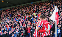 Lincoln City's Tom Pett, left, celebrates scoring the opening goal with team-mate Lee Frecklington<br /> <br /> Photographer Chris Vaughan/CameraSport<br /> <br /> The EFL Sky Bet League Two - Lincoln City v Crewe Alexandra - Saturday 6th October 2018 - Sincil Bank - Lincoln<br /> <br /> World Copyright &copy; 2018 CameraSport. All rights reserved. 43 Linden Ave. Countesthorpe. Leicester. England. LE8 5PG - Tel: +44 (0) 116 277 4147 - admin@camerasport.com - www.camerasport.com