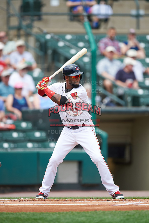 Rochester Red Wings right fielder Danny Santana (9) at bat during a game against the Columbus Clippers on June 16, 2016 at Frontier Field in Rochester, New York.  Rochester defeated Columbus 6-2.  (Mike Janes/Four Seam Images)