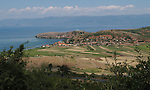 Lin-Pogradec-Albania - August 02, 2004---View on the village / peninsula of Lin and Lake Ohrid (with Macedonian mountains and shore at the horizon); region/village of project implementation by GTZ-Wiram-Albania (German Technical Cooperation, Deutsche Gesellschaft fuer Technische Zusammenarbeit (GTZ) GmbH); landscape-nature---Photo: Horst Wagner/eup-images