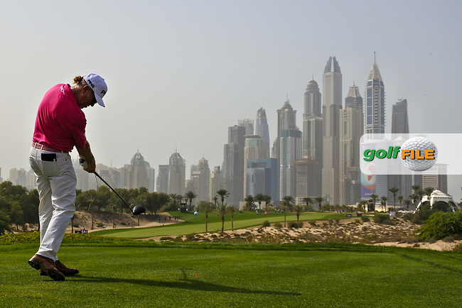 Miguel Angel Jimenez (ESP) on the 8th during Round 2 of the Omega Dubai Desert Classic, Emirates Golf Club, Dubai,  United Arab Emirates. 25/01/2019<br /> Picture: Golffile | Thos Caffrey<br /> <br /> <br /> All photo usage must carry mandatory copyright credit (&copy; Golffile | Thos Caffrey)
