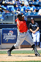 State College Spikes DH Samuel Gonzalez #23 during a game against the Staten Island Yankees at Richmond County Bank Ballpark at St. George on July 14, 2011 in Staten Island, NY.  Staten Island defeated State College 6-4.  Tomasso DeRosa/Four Seam Images