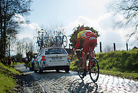 Olivier Chevalier (BEL/Wallonie Bruxelles-Group Protect) up the cobbles of the Oude Kwaremont<br /> <br /> 3-daagse van West-Vlaanderen 2016<br /> stage1: Bruges-Harelbeke 176km