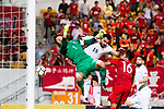 Goalkeeper Yapp Hung Fai of Hong Kong (L) fights for the ball with Baha Faisal Seif of Jordan (R) during the International Friendly match between Hong Kong and Jordan at Mongkok Stadium on June 7, 2017 in Hong Kong, China. Photo by Marcio Rodrigo Machado / Power Sport Images