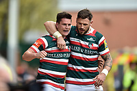 Freddie Burns of Leicester Tigers celebrates a first half try with team-mate Adam Thompstone. Aviva Premiership match, between Leicester Tigers and Sale Sharks on April 29, 2017 at Welford Road in Leicester, England. Photo by: Patrick Khachfe / JMP