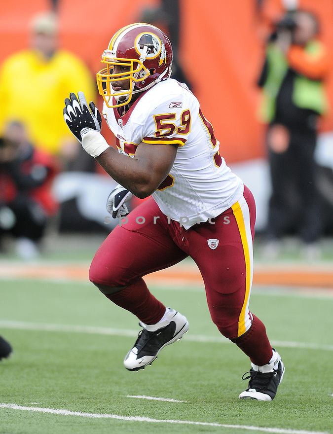 LONDON FLETCHER, of the Washington Redskins , in action  during the Redskins game against the  Cincinnati Bengals  on December 14, 2008 in Cincinnati, OH...Bengals win 20-13