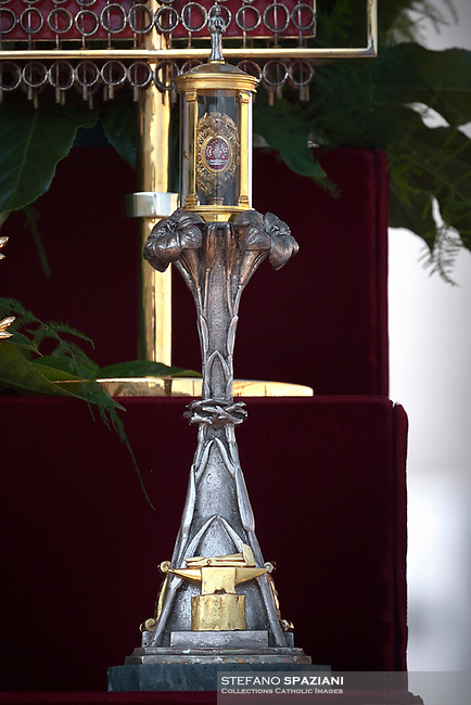 Relics  of  Nunzio Sulprizio. Pope Francis presides over a canonization ceremony in St Peter's Square at the Vatican, on October 14, 2018. Pope Francis canonizes two of the most important and figures of the 20th-century Catholic Church, declaring Pope Paul VI and the martyred Salvadoran Archbishop Oscar Romero.