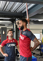 Swansea City's Kyle Bartley in the gym on his first day back for the new season.
