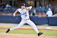 Asheville Tourists starting pitcher Shelby Lackey (10) delivers a pitch during a game against the Delmarva Shorebirds at McCormick Field on May 3, 2019 in Asheville, North Carolina. The Shorebirds defeated the Tourists 6-5. (Tony Farlow/Four Seam Images)