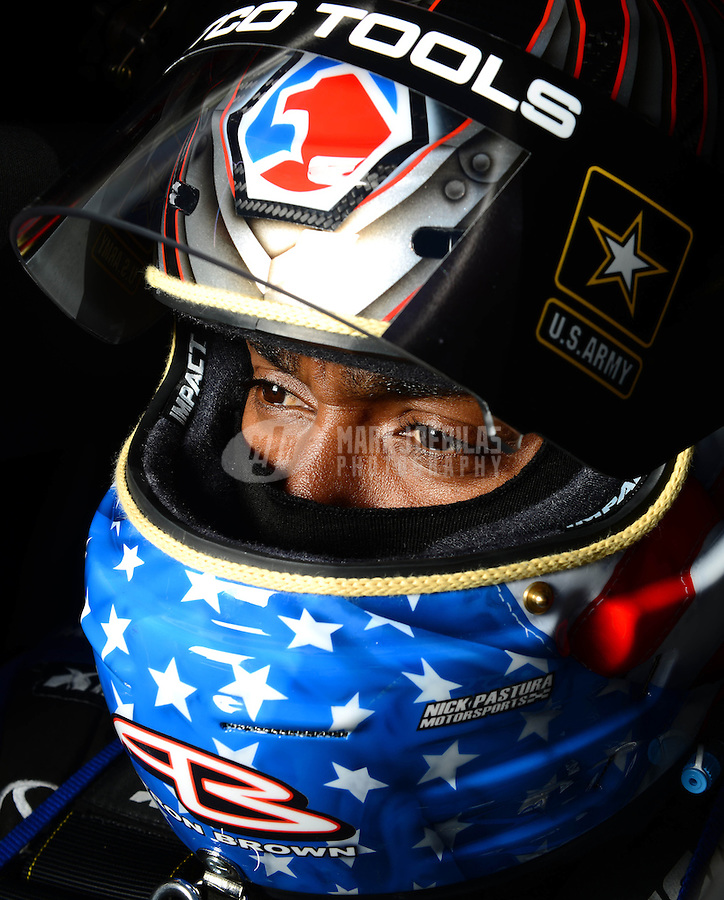 Sept 8, 2012; Clermont, IN, USA: NHRA top fuel dragster driver Antron Brown during qualifying for the US Nationals at Lucas Oil Raceway. Mandatory Credit: Mark J. Rebilas-