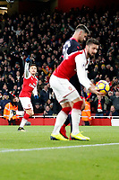 GOAL - Alexis Sanchez of Arsenal scores the third goal and acknowledges Mesut Ozil's pass for his goal during the Premier League match between Arsenal and Huddersfield Town at the Emirates Stadium, London, England on 29 November 2017. Photo by Carlton Myrie / PRiME Media Images.