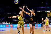 Waikato Bay of Plenty&rsquo;s Greer Sinclair and Central Manawa&rsquo;s Saviour Tui in action during the Beko Netball League - Central Manawa v Waikato Bay of Plenty at TSB Bank Arena, Wellington, New Zealand on Sunday 21 April 2019. <br /> Photo by Masanori Udagawa. <br /> www.photowellington.photoshelter.com