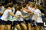Berlin, Germany, February 01: Players of Duesseldorfer HC celebrate after winning the 1. Bundesliga Damen Hallensaison 2014/15 final hockey match between Duesseldorfer HC (white) and HTC Uhlenhorst Muehlheim (green) on February 1, 2015 at the Final Four tournament at Max-Schmeling-Halle in Berlin, Germany. Final score 4-1 (1-0). (Photo by Dirk Markgraf / www.265-images.com) *** Local caption ***