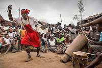 A traditional healer dances at an initiation ceremony for a new witchdoctor.